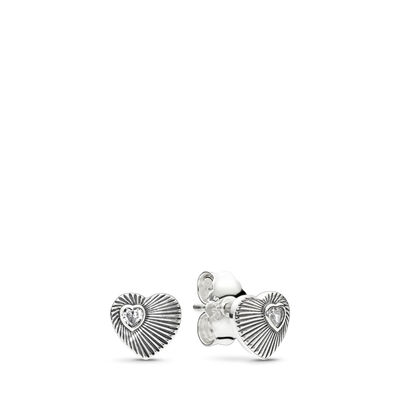 Vintage Heart Fans Stud Earrings, Sterling silver, Cubic Zirconia - PANDORA - #297298CZ