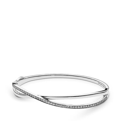 Entwined Bangle, Sterling silver, Cubic Zirconia - PANDORA - #590533CZ