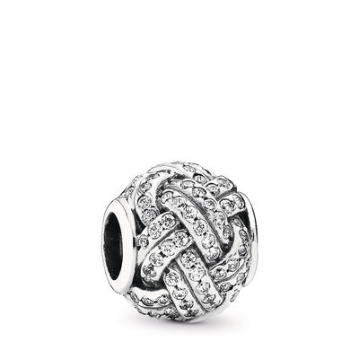 Sparkling Love Knot Charm, Sterling silver, Cubic Zirconia - PANDORA - #791537CZ