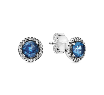 Blue Round Sparkle Stud Earrings
