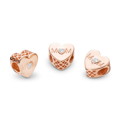 Mother Heart Charm, PANDORA Rose, Cubic Zirconia - PANDORA - #781881CZ