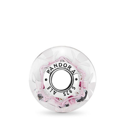 Pink Bloom Murano Glass Charm, Sterling silver, Glass, Pink - PANDORA - #791665