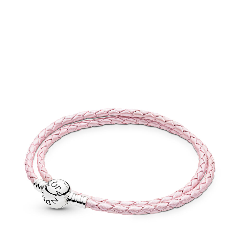 Moments Double Woven Leather Bracelet Pink