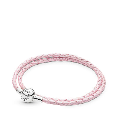 Moments Double Woven Leather Bracelet, Pink, Sterling silver, Leather, Pink - PANDORA - #590745CMP-D