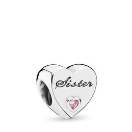 Sister's Love Charm, Sterling silver, Cubic Zirconia - PANDORA - #791946PCZ