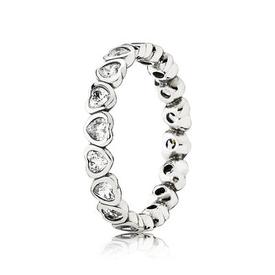 Sparkling Heart Stacking Ring, Sterling silver, Cubic Zirconia - PANDORA - #190897CZ