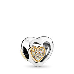 Two Hearts In One Charm, Two Tone, Cubic Zirconia - PANDORA - #791806CZ