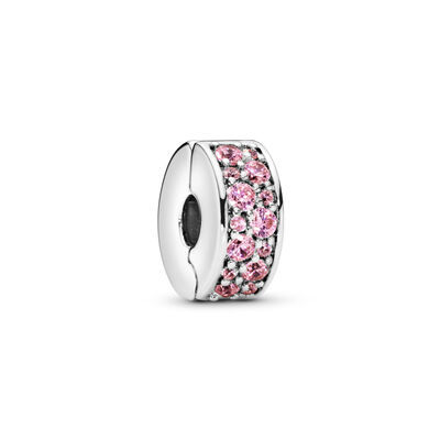 Pink Shining Elegance Spacer Clip, Sterling silver, Silicone, Pink, Cubic Zirconia - PANDORA - #791817PCZ