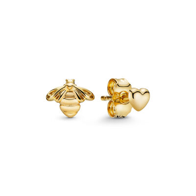 Heart and Bee Stud Earrings, PANDORA Shine - PANDORA - #267071