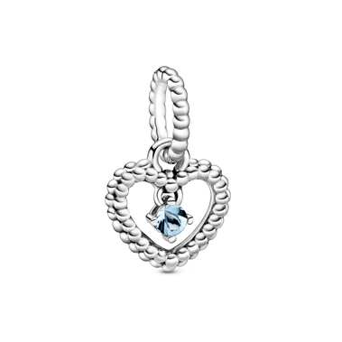 March Birthstone Heart Dangle Charm