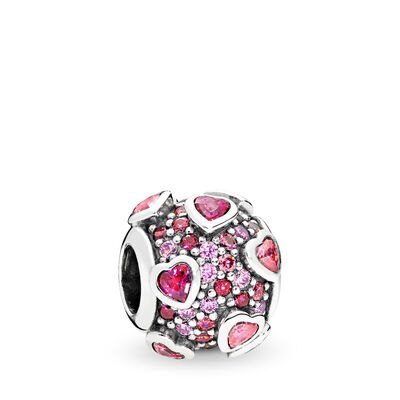 Explosion of Love Charm, Sterling silver, Pink, Cubic Zirconia - PANDORA - #796555CZSMX