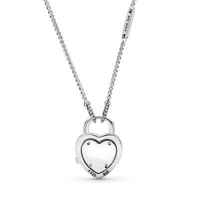 Lock Your Promise Necklace, Sterling silver, Pink, Cubic Zirconia - PANDORA - #396583FPC