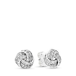 Sparkling Love Knots Stud Earrings, Sterling silver, Cubic Zirconia - PANDORA - #290696CZ
