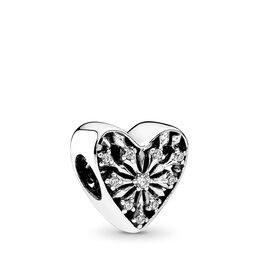 Frosted Heart Charm, Sterling silver, Cubic Zirconia - PANDORA - #791996CZ