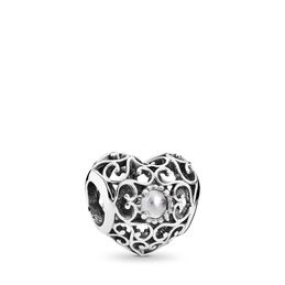April Signature Heart Birthstone Charm, Sterling silver, Grey, Rock crystal - PANDORA - #791784RC