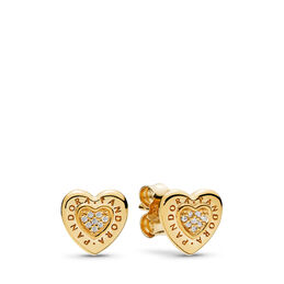 PANDORA Shine Logo Heart Stud Earrings, PANDORA Shine, Cubic Zirconia - PANDORA - #267382CZ
