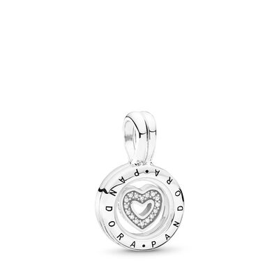 Floating Locket Pendant Charm, Sterling silver, Glass, Cubic Zirconia - PANDORA - #792144CZ