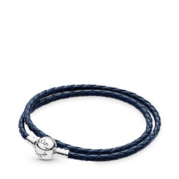 Moments Double Woven Leather Bracelet, Dark Blue, Sterling silver, Leather, Blue - PANDORA - #590745CDB-D