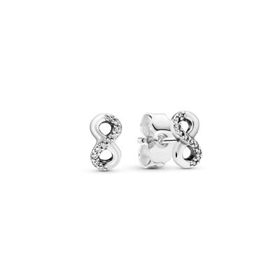 Infinite Love Stud Earrings, Sterling silver, Cubic Zirconia - PANDORA - #290695CZ