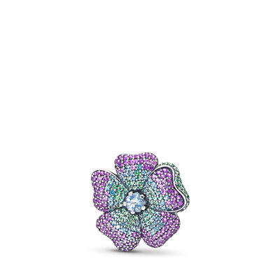 Glorious Bloom Pendant and Brooch, Sterling silver, Blue, Crystal - PANDORA - #397081NRPMX