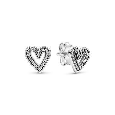 Sparkling Freehand Heart Stud Earrings