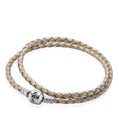 Moments Double Woven Leather Bracelet - Pearl