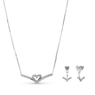 Sparkling Wishbone Heart Gift Set