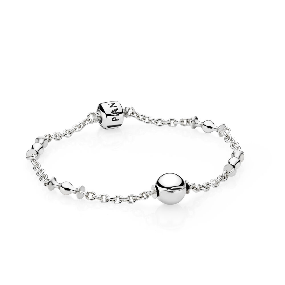 Five Clip Ball Silver Bracelet