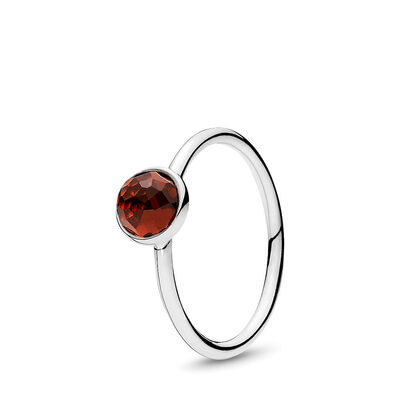 January Droplet Birthstone Ring, Sterling silver, Red, Garnet - PANDORA - #191012GR
