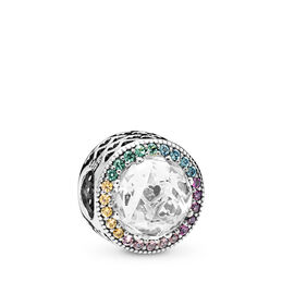Multi-colour Radiant Hearts Charm, Sterling silver, Blue, Mixed stones - PANDORA - #791725CZMX