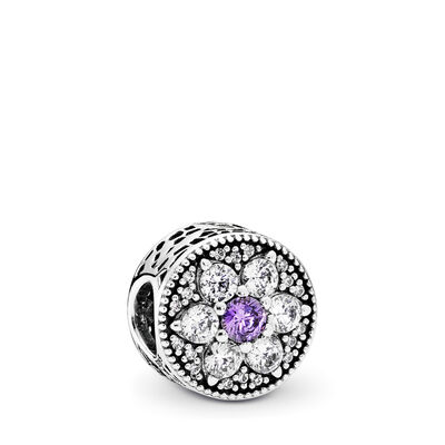 Forget Me Not Charm, Sterling silver, Purple, Cubic Zirconia - PANDORA - #791832ACZ