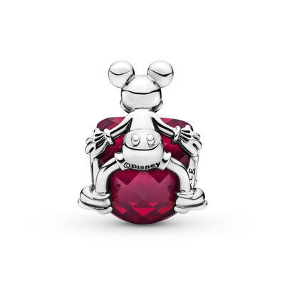Disney, Mickey Love Heart Charm, Sterling silver, Red, Crystal - PANDORA - #797168NFR
