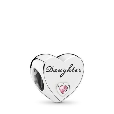 Daughter's Love Charm, Sterling silver, Pink, Cubic Zirconia - PANDORA - #791726PCZ