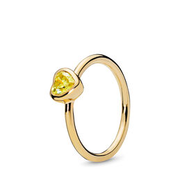 Radiant Heart Ring, PANDORA Shine, Yellow, Cubic Zirconia - PANDORA - #167089CSY