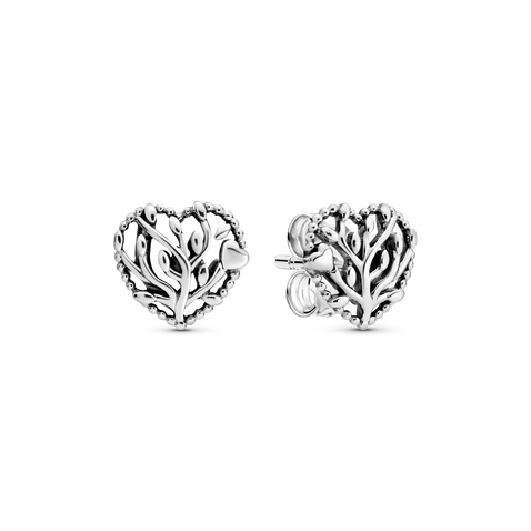 Family Tree Heart Stud Earrings