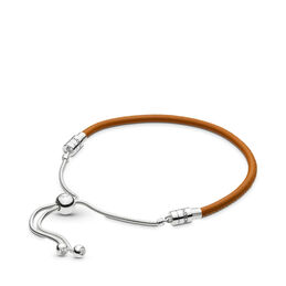Moments Sliding Leather Bracelet, Golden tan, Sterling silver, Leather, Brown, Cubic Zirconia - PANDORA - #597225CGT