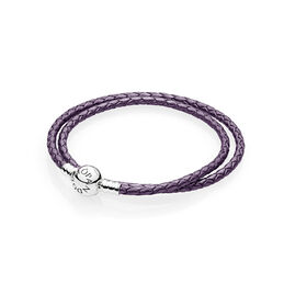 Moments Double Woven Leather Bracelet, Purple, Sterling silver, Leather, Purple - PANDORA - #590745CPE-D