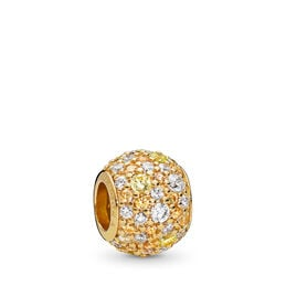 Golden Mix Pavé Ball Charm, PANDORA Shine, Yellow, Cubic Zirconia - PANDORA - #767052CSY