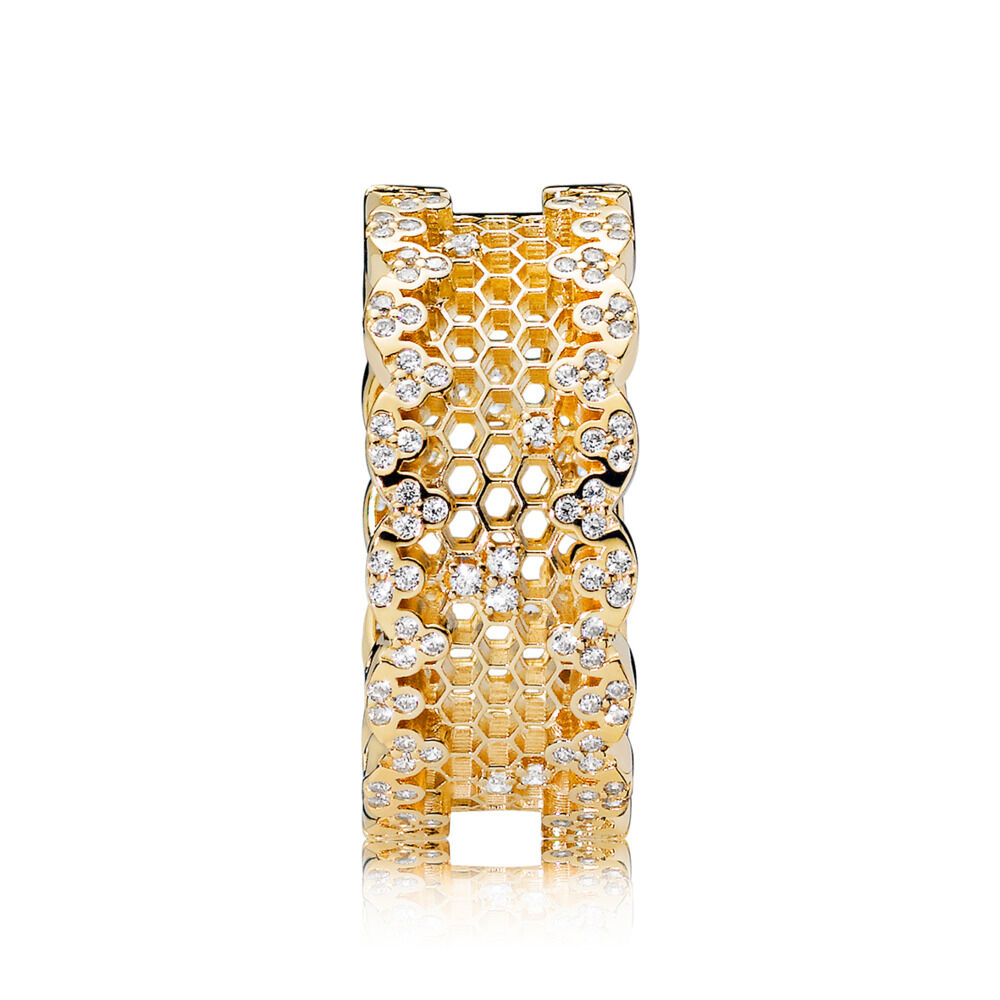 Honeycomb Lace Ring 18ct Gold Plated Cubic Zirconia Shop Pand Parcel Kristal Pja 1670