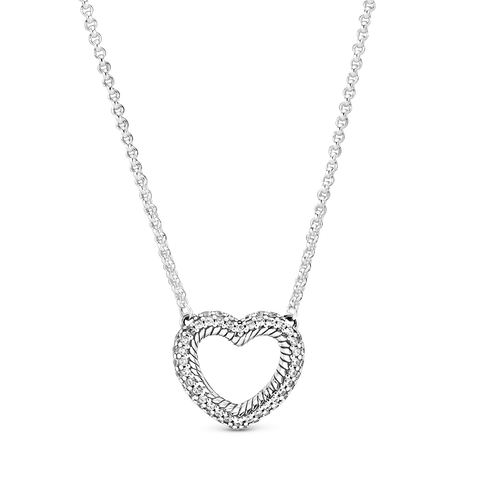 Pavé Snake Chain Pattern Open Heart Collier Necklace