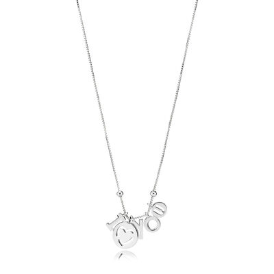 I Love You Necklace, Sterling silver, Silicone - PANDORA - #396580