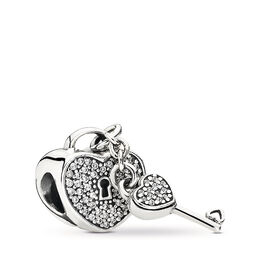 Lock of Love Charm, Sterling silver, Cubic Zirconia - PANDORA - #791429CZ