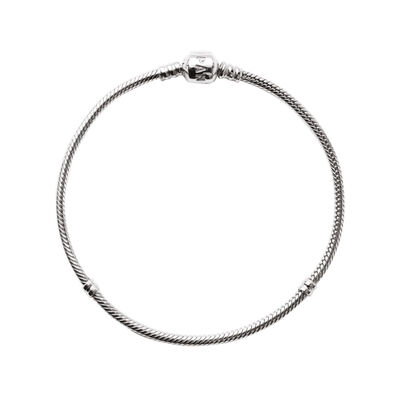 Moments Sterling Silver Charm Bracelet - Barrel Clasp, Sterling silver - PANDORA - #590702HV