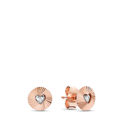 Vintage Fans Stud Earrings, PANDORA Rose, Cubic Zirconia - PANDORA - #287297CZ
