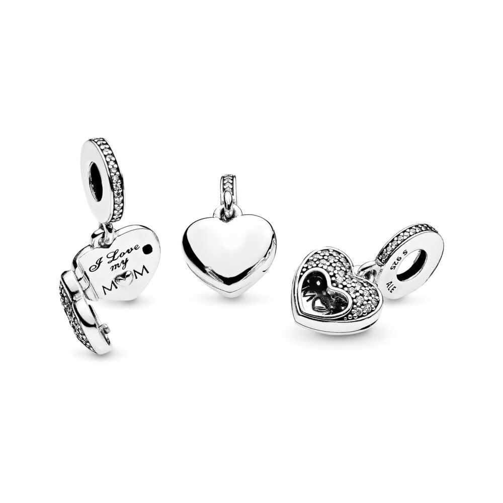 I Love My Mum Pendant Charm Sterling Silver Cubic