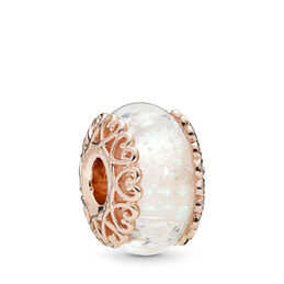 Iridescent White Glass Murano Charm, PANDORA Rose, Glass, White - PANDORA - #787576