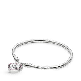Moments Silver Lock Your Promise Heart Clasp Bracelet, Sterling silver, Pink, Cubic Zirconia - PANDORA - #596586FPC
