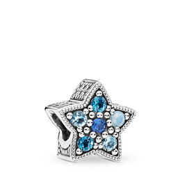 Bright Star Charm, Sterling silver, Blue, Mixed stones - PANDORA - #796379NSBMX