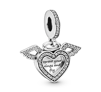 Heart and Angel Wings Dangle Charm