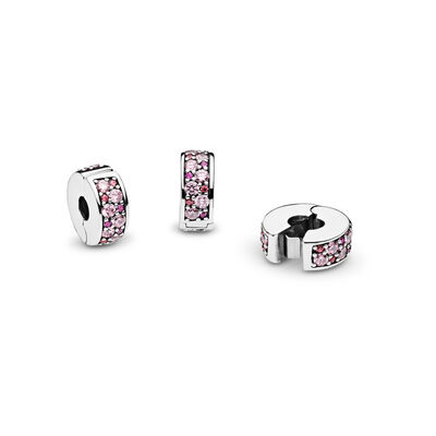 Purple Mosaic Shining Elegance Spacer Clip, Sterling silver, Silicone, Pink, Cubic Zirconia - PANDORA - #791817CZSMX